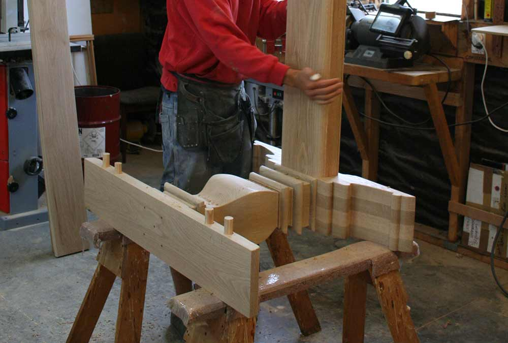 Refectory Table Leg in construction